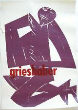 HAP Grieshaber Knieende Gestalt Orig Plakat Holzschnitt um 1960