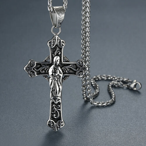 Men/'s Stainless Steel Virgin Mother Mary Large Cross Pendant Necklace
