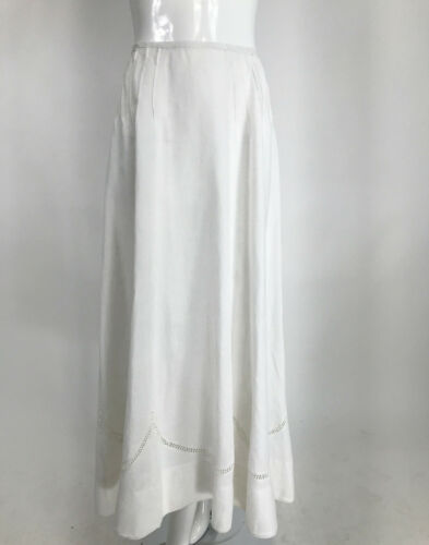 1900s Edwardian White Linen Drawn Work Walking ski