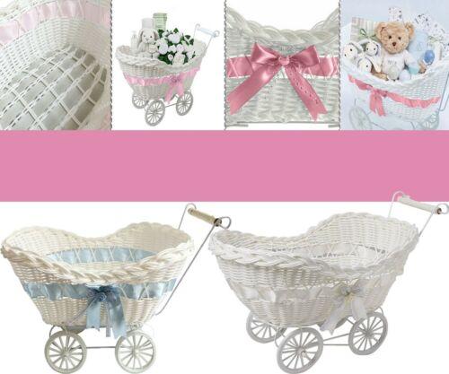 Large Baby Pram Hamper Wicker Basket Shower Party Gifts Boys Girls New Born