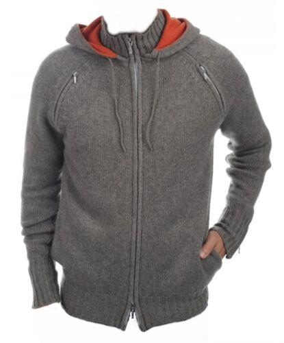 arancio con grigio cappuccio Felpa cashmere con strati uomo cashmere in 100 8 L cappuccio n104nq67
