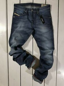 Rrp-168-Nuovo-Jeans-Diesel-Uomo-Belther-084KW-Regular-Slim-Tapered-Stretch-Blu