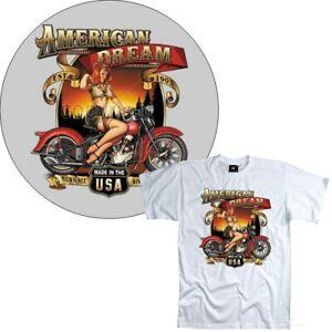 T-Shirt Moto Classic Américain Motard Vintage Motif Harley 4293 WH