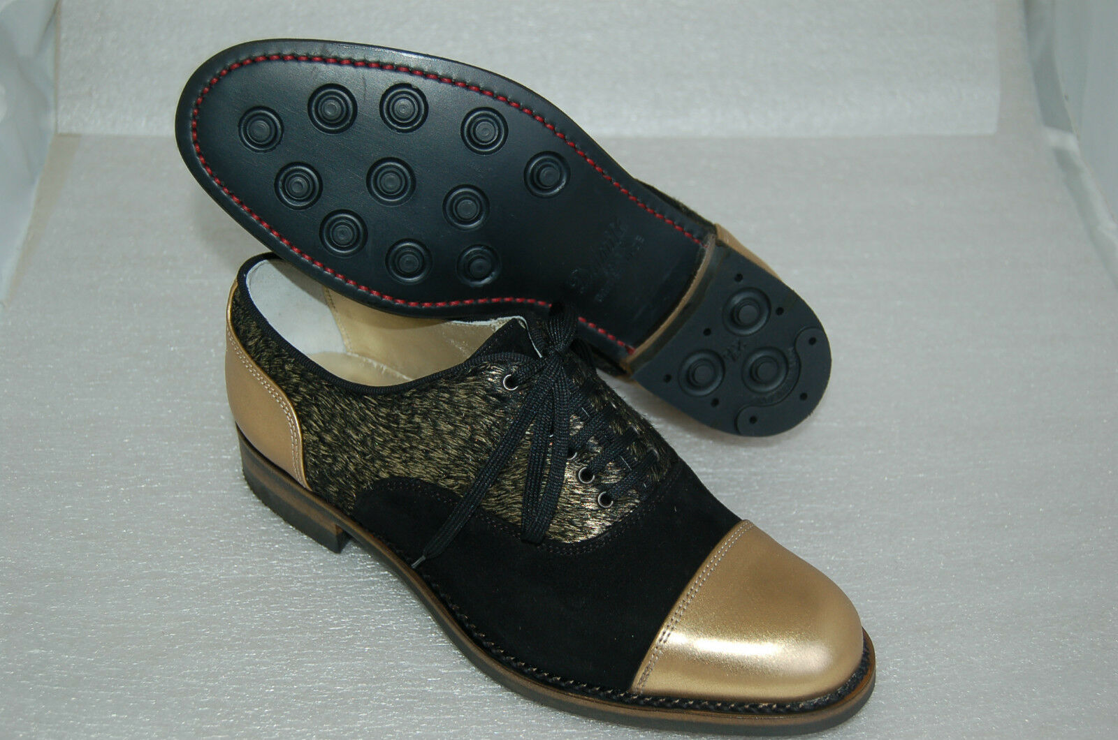WOMAN CAPTOE OXFORD PONY- -39 eu - GOLD CALF/BLK SUEDE/LAMINATE PONY- OXFORD LTH SOLE+DAINITE 489942