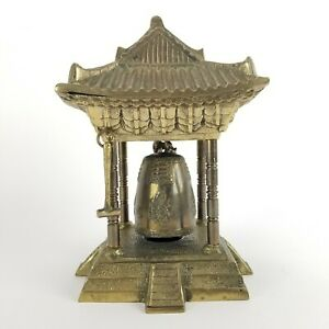 Vintage Brass Pagoda Temple Bell HEAVY Buddhist Gong Asian Solid Brass 10in