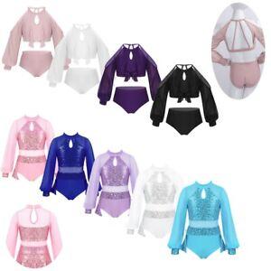 Kids-Girls-Jazz-Ballet-Dance-Leotards-Long-Sleeves-Modern-Tap-Sequined-Dancewear