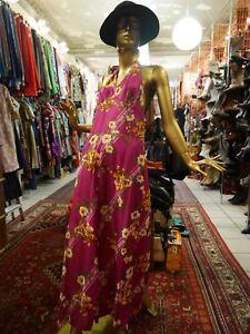 Kleid Maxi Nylon Dress Vintage True 60s m Sommerkleid S Neckholder Maxikleid tgwqTfT