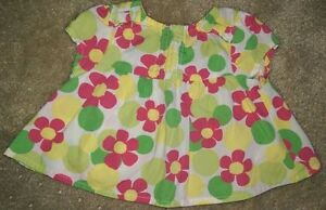Gymboree-Girls-Pink-Yellow-Green-White-Floral-Shirt-Top-Blouse-Size-0-to-3-Month