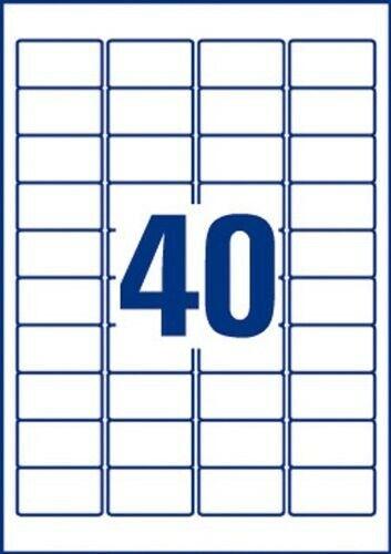 40x Avery-Zweckform L6140 Etiketten 45.7 x 25.4mm Polyester-Folie Weiß