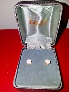 Zales 6.0mm Cushion-Cut Lab-Created Opal Stud Earrings in 14K Gold 9KSbjk