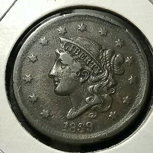 1839 CORONET HEAD LARGE CENT SILLY HEAD SCARCE COIN