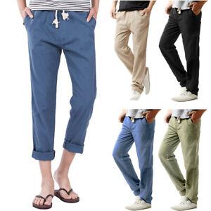 Men-039-s-slim-strandhosen-Mi-Taille-Linge-Tuyau-Pantalon-solide-Straight-Pantalon-DZ