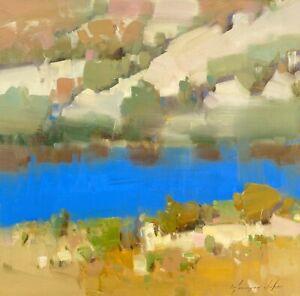 Lake Side, Original Oil painting, Handmade artwork, One of a kind