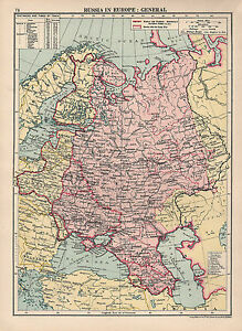 1930 Map Russia In Europe Poland Distances By Train Ebay