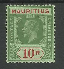 MAURITIUS 1913-22 GV 10rs GREEN & RED GREEN MOUNTED MINT THE TOP VALUE SEE SCANS