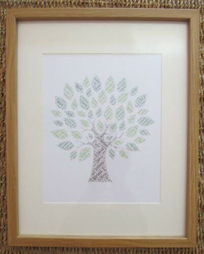 Personalised FAMILY TREE Word Art A4 Print or A5 Greetings Card