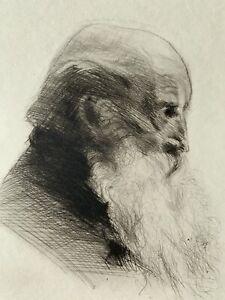 Cadwallader washburn eau forte engraving etching portrait of man in profile