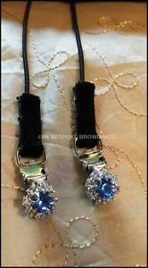 Crystal Bling Horse Show Number Clips - LIGHT SAPPHIRE