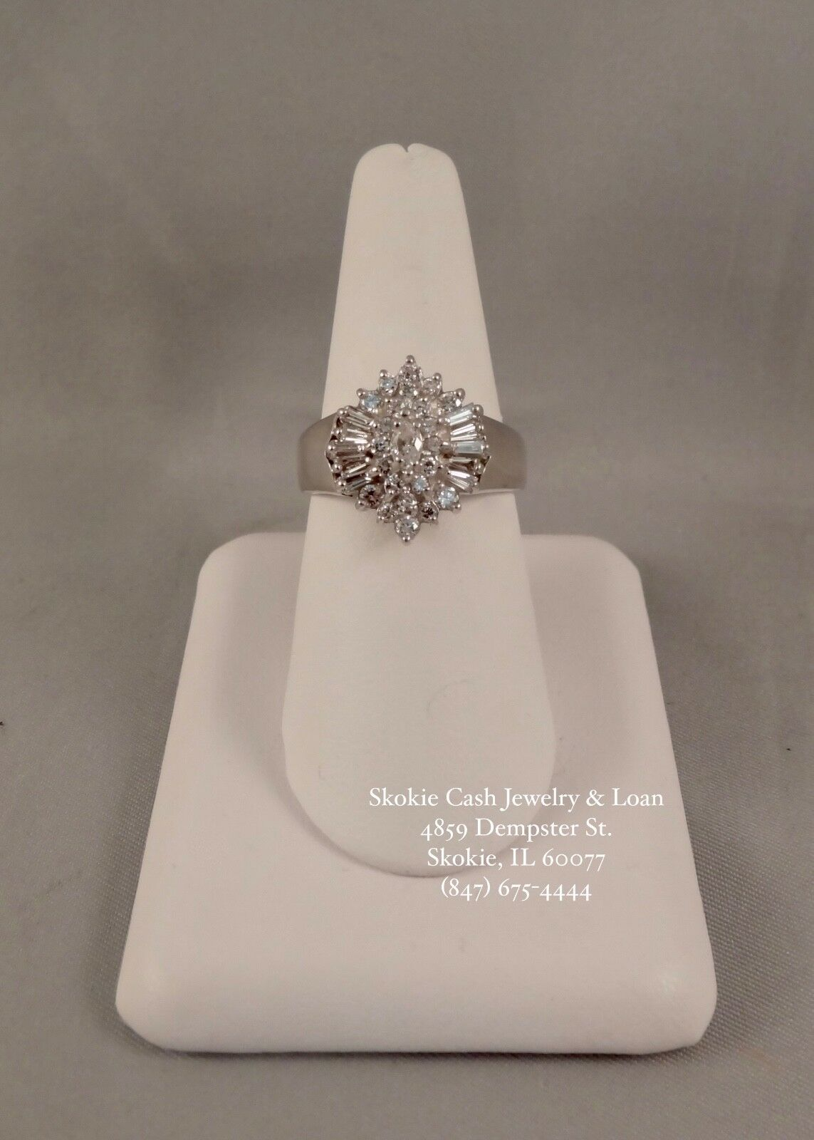 14kt White gold Diamond Ring - 2cts FLAWLESS DIAMONDS