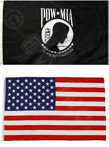 2PK-3X5FT-Flags-POW-MIA-PRISONER-OF-WAR-MISSING-IN-ACTION-And-AMERICAN-USA-FLAG