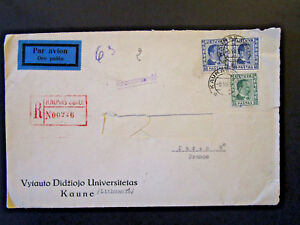 Details about Lithuania 1937 Airmail Cover to France / Address Cut Out (II)  - Z5386