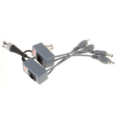 BNC Coax CCTV RJ45 Balun w/Audio Video Power Over Transceiver Cable 1 Pair USHF