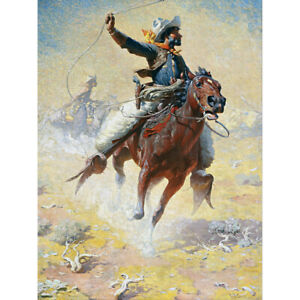 Leigh-The-Roping-Cowboy-Lasso-Horse-Painting-Canvas-Art-Print-Poster