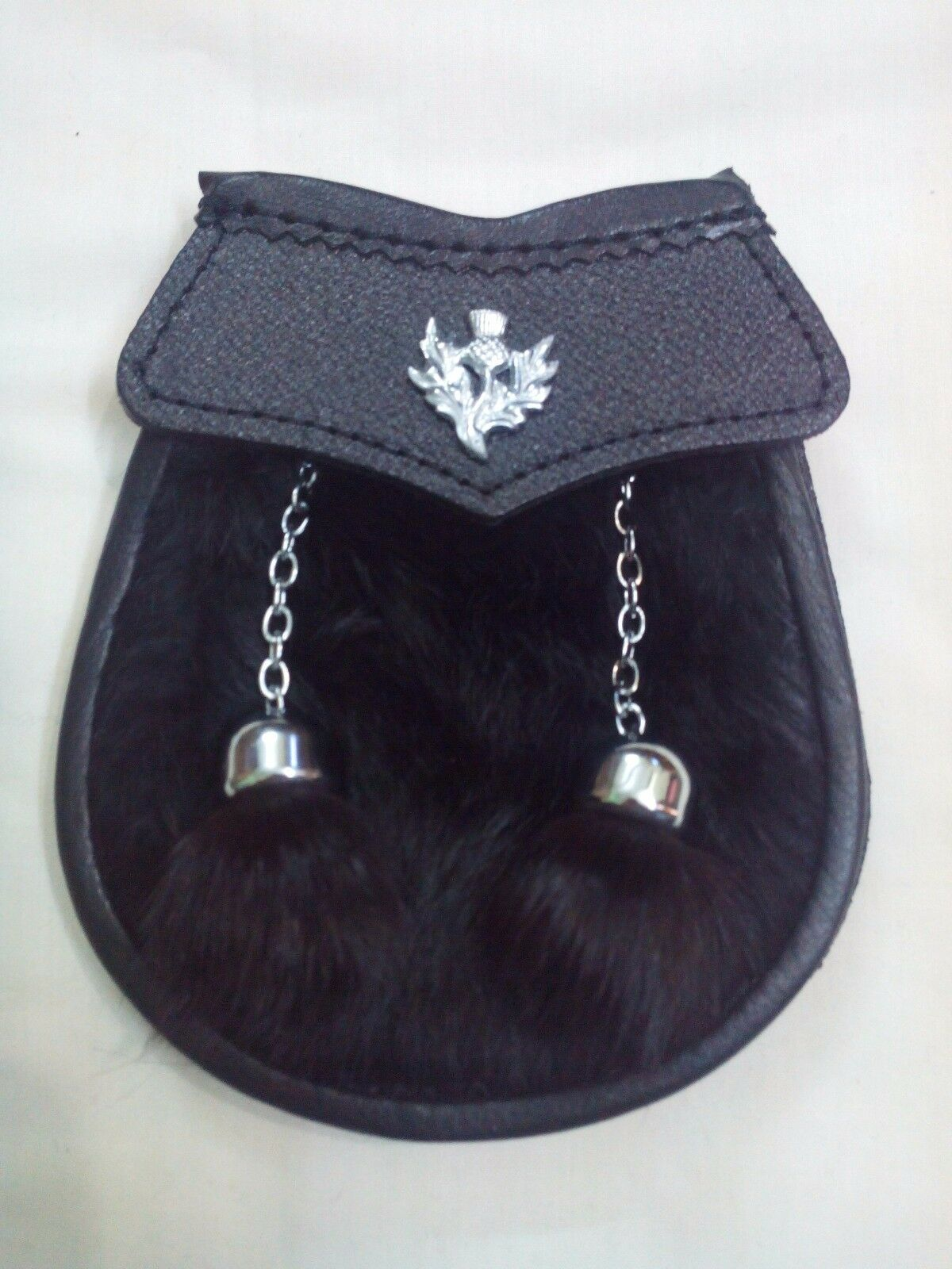 Child kilt Sporran Black Rabbit Thistle Crest Badge/Boys Kid's Dress Sporrans