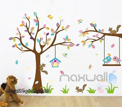 Squirrel Bird Tree Rabbit Wall Sticker decal Removable kids nursery decor art