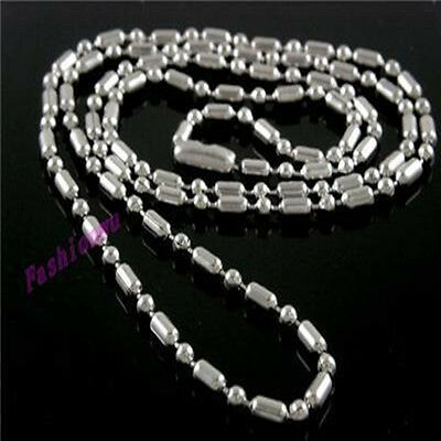"""50Pc 2.4MM 20"""" Stainless Steel Lo Bead Chain Necklace 1"""