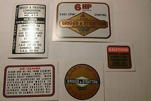 Briggs & Stratton Minibike label 6-hp old school 14 ci 1964-77  Tule Trooper