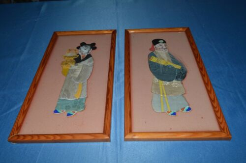 2 OLD CANVAS CHINA OR JAPAN CLOTHING FABRIC FACE PAINTED VIEILLARD WOMAN