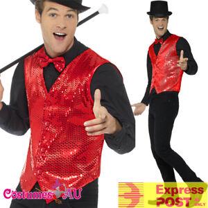 Mens-Sequin-Red-Vest-Waistcoat-Dance-20s-1920s-Magician-Costume-Jazz-Cabaret