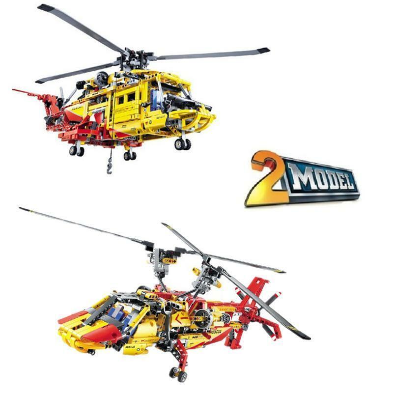 JISI TECH Bricks Rescue Helicopter 3357 piece compatible blocks 2-model