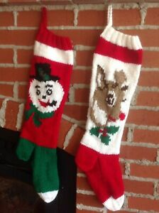 Knitted Christmas Stockings.Details About Personalized Hand Knit Christmas Stocking