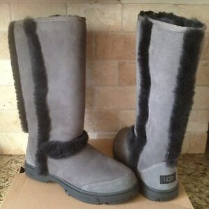 3d5bf906f5c Details about UGG SUNBURST TALL GREY GRAY BLACK SUEDE SHEEPSKIN BOOTS SIZE  US 5 WOMENS