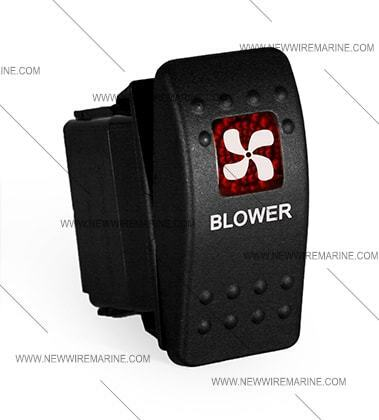 Blower Labeled boat Marine Contura II Rocker Switch Carling lighted RED Lens