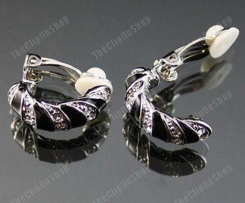 CLIP ON zebra HUGGIE half hoops CRYSTAL EARRINGS rhinestone BLACK silver pl hoop