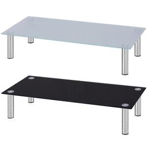 Tavolino-TV-Alza-Schermo-Porta-TV-Salotto-Misure-Diverse-Vetro-Bianco-Nero
