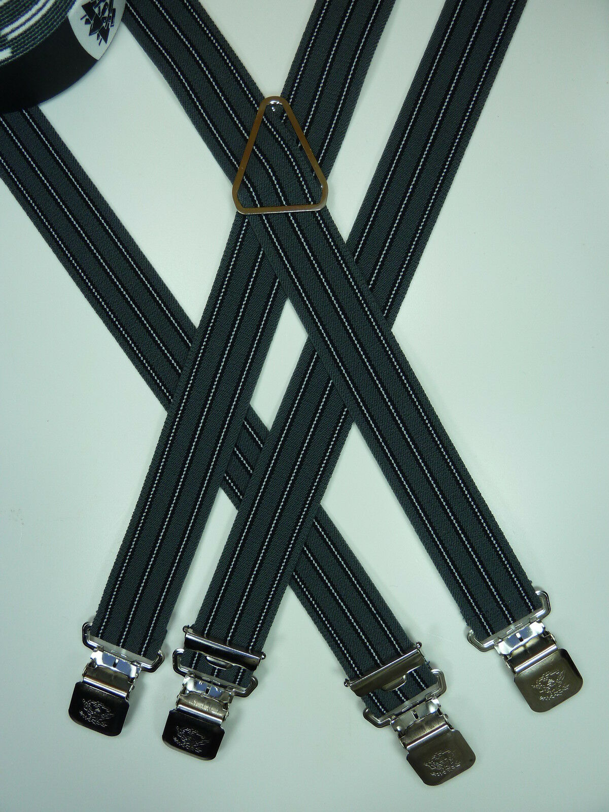 Hosenträger,grau-schwarz,4 Alligatorklips,Metallrückenteil,35 mm breit