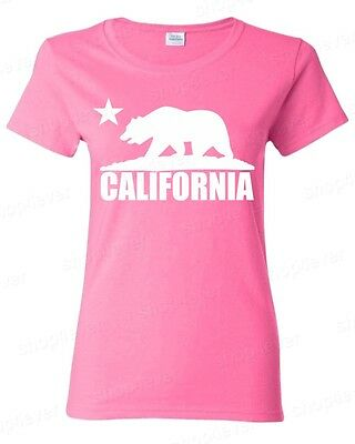 California Bear White Racerback Tank Top Cali Souvenir State Map Republic CA Tee