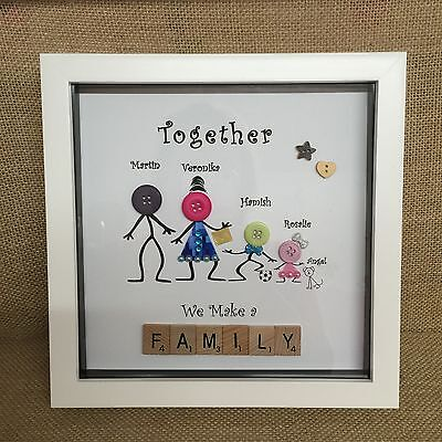 Personalised Family Button Head Framed Picture