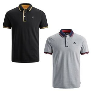 JACK-amp-JONES-T-shirts-a-maniche-corte-da-Uomo-Polo-Shirt-causale-Estate-Tee-Tops