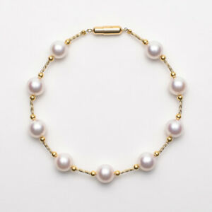 7.5-8mm AAA Japanese Akoya White Pearl Pendant in 14K Yellow Gold