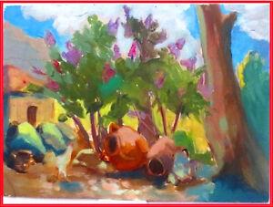 1950s ARMENIA VILLAGE Painting; Russian- ARMENIAN Listed artist ELENA ABRAHAMYAN
