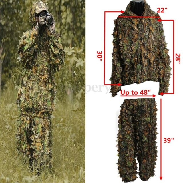 cd27027490396 3D Leafy Tactical Ghillie Suit Woodland Camo Camouflage Clothing Jungle  Hunting