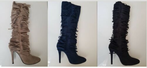 LADIES WOMENS HIGH HEELS ZIP UP KNEE HIGH TASSEL STRETCH BOOTS SHOES FAUX SUEDE