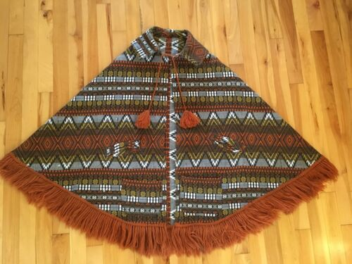 Fringed Tapestry Blanket Shawl Cape Poncho Sweater