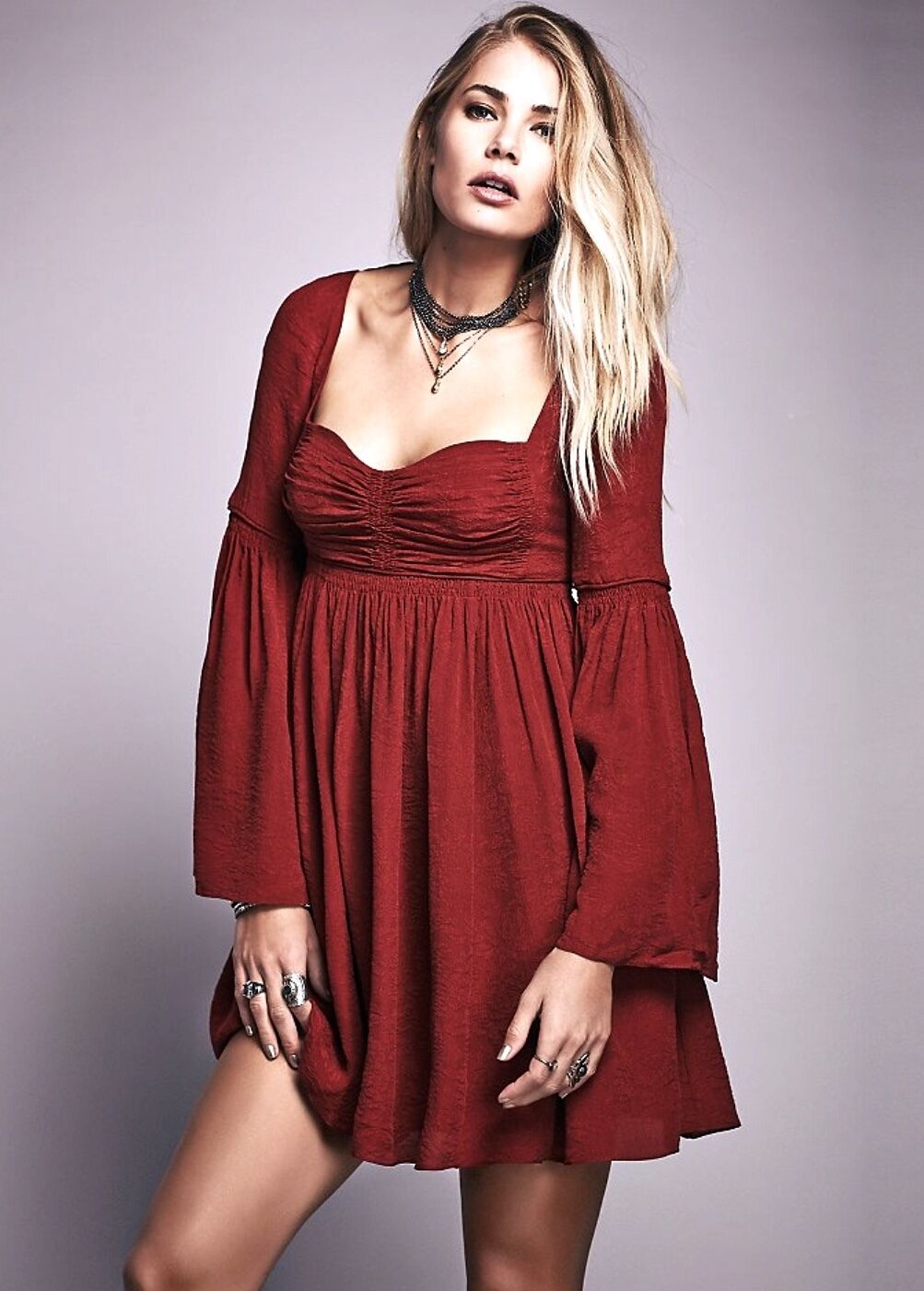 NEW Free People deep red Silk Floral Texture Babydoll Swing Dress Bell Sleeves 2