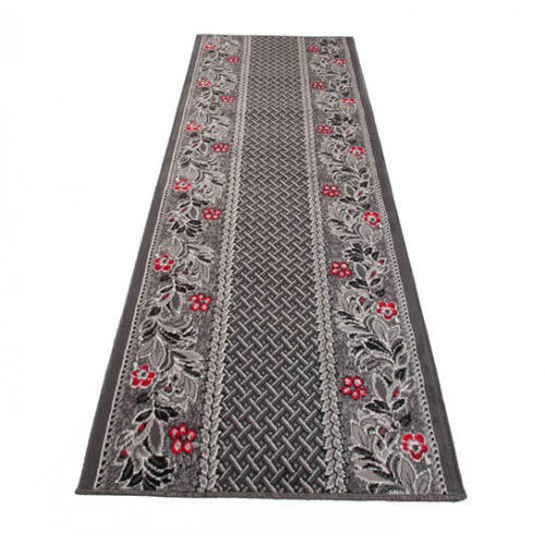 Hallway Runner Dark Grey Floral Pattern Long Hall Carpet Quality Mat Floor Rug